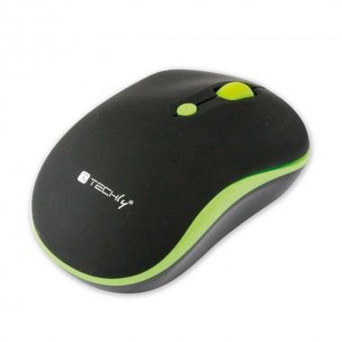 Mysz bezprzewodowa Techly 1600dpi optyczna czarno-zielona