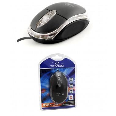 Mysz przewodowa Titanum 3D RAPTOR TM102K optyczna czarno-przezroczysta