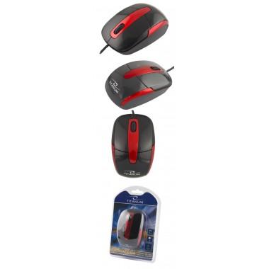 Mysz przewodowa Titanum 3D BARRACUDA TM108K optyczna czarno-czerwona
