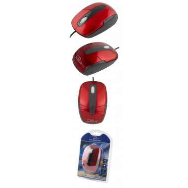 Mysz przewodowa Titanum 3D BARRACUDA TM108R optyczna czarno-czerwona