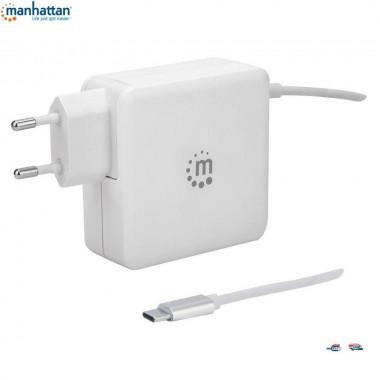 Zasilacz sieciowy Manhattan Power Delivery 230V USB-C, 60W USB-A 5V, biały