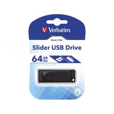 Pendrive Verbatim 64GB Slider USB 2.0