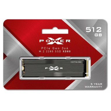 Dysk SSD Silicon Power XPOWER XD80 512GB PCIe Gen3x4 NVMe (3400/2300 MB/s) 2280