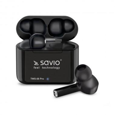 Słuchawki z mikrofonem Savio TWS-08 PRO Powerbank bezprzewodowe Bluetooth 5.0 czarne