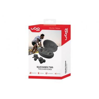 Słuchawki z mikrofonem UGO Colima TWS100 bezprzewodowe TWS z uchwytem czarne